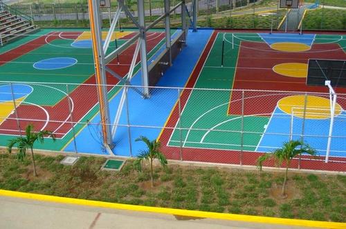 Pista polideportiva 2 pavimentos pavipor - Pintura para pistas deportivas ...