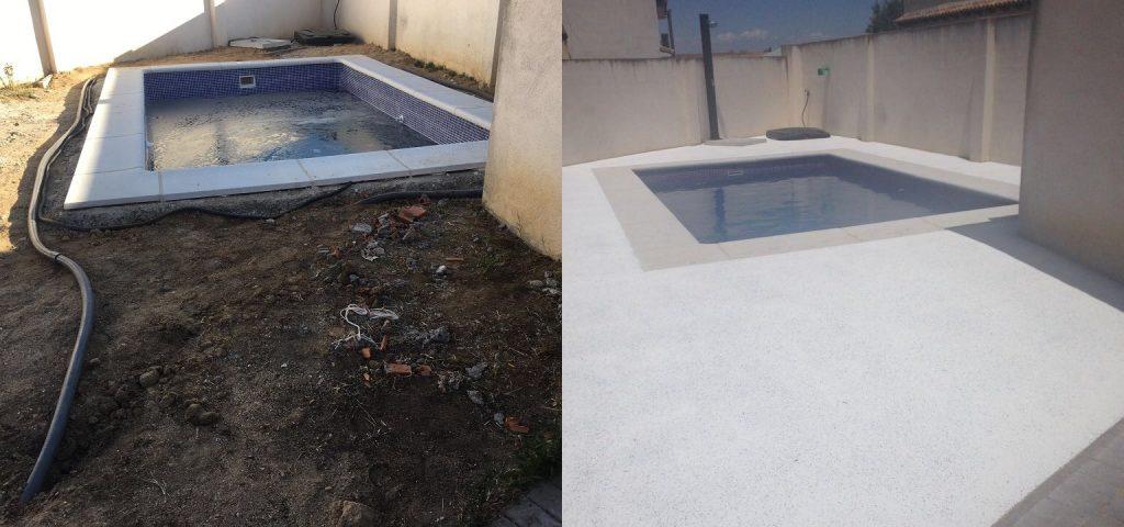 Pavimento Piscina antes y después