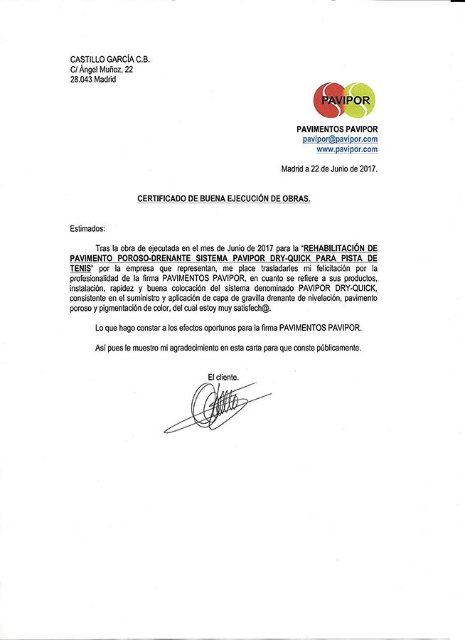 Certificado buena ejecución de obra de hormigón poroso - Madrid 1