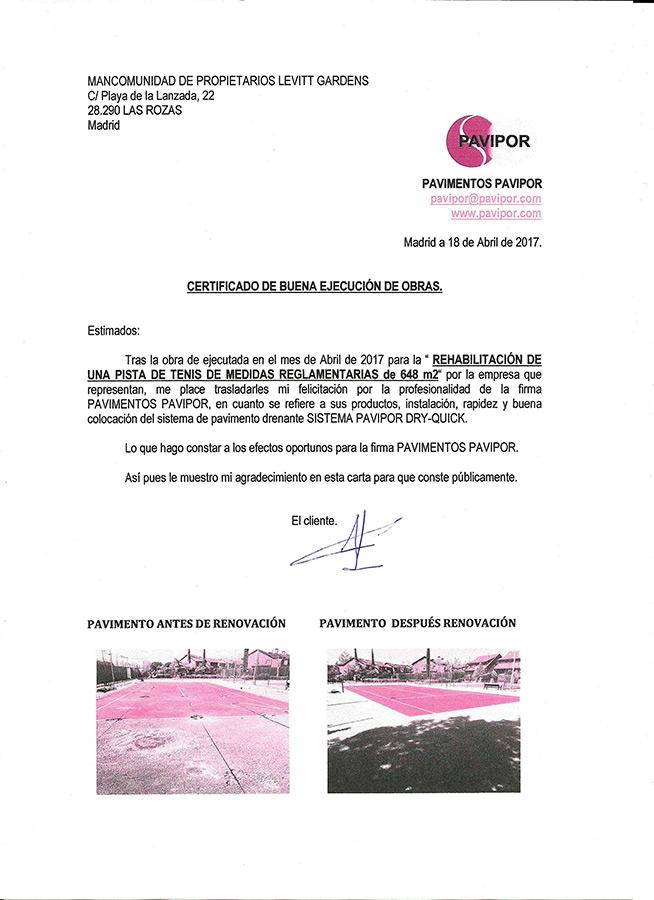Certificado buena ejecución de obra de hormigón poroso - Las Rozas