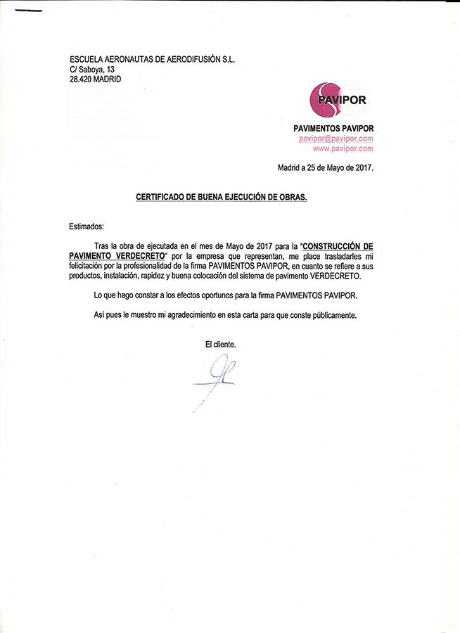 Certificado buena ejecución de obra de hormigón poroso - Madrid 3