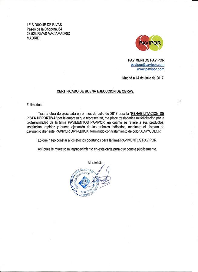 Certificado buena ejecución de obra de hormigón poroso - Rivas-Vaciamadrid
