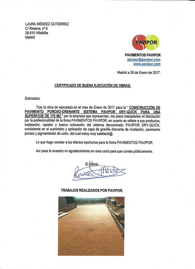 Certificado buena ejecución de obra de hormigón poroso - Villalbilla