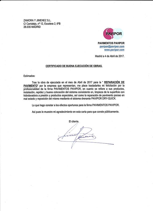 Certificado buena ejecución de obra de hormigón poroso - Madrid