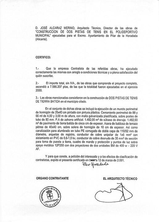 Certificado buena ejecución de obra - Pilar de la Horadada