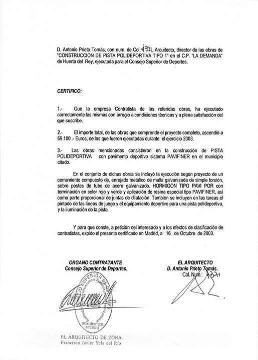 Certificado buena ejecución de obra - Huerta del Rey
