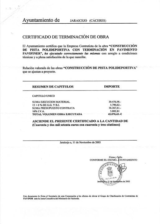 Certificado buena ejecución de obra - Jaraicejo