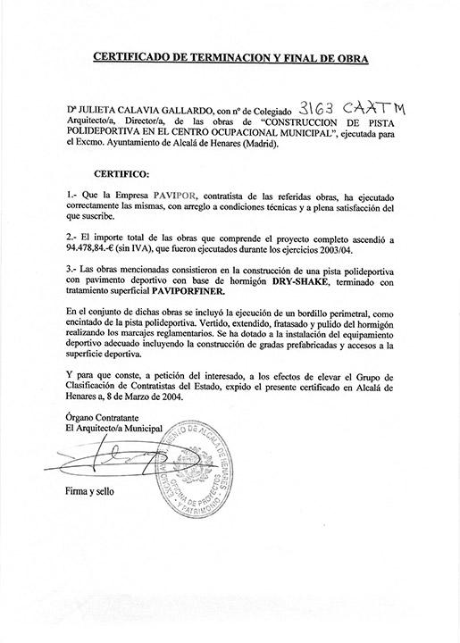 Certificado buena ejecución de obra - Alcalá de Henares