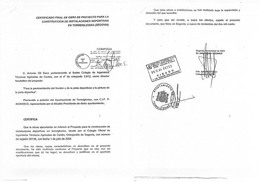 Certificado buena ejecución de obra - Torreiglesias