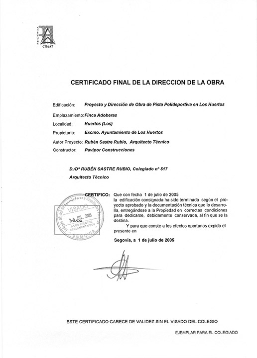 Certificado buena ejecución de obra - Los Huertos