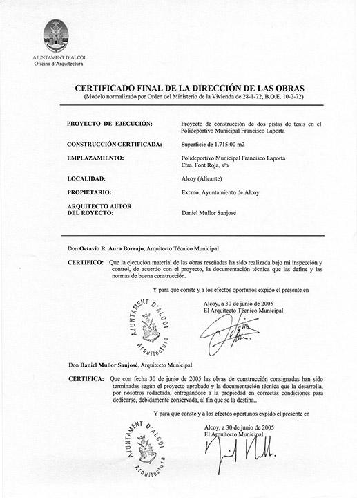Certificado buena ejecución de obra - Alcoy