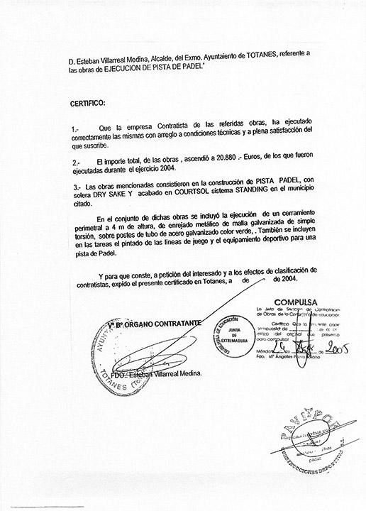 Certificado buena ejecución de obra - Totanes