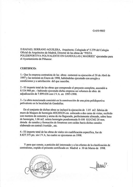Certificado buena ejecución de obra - Gandullas