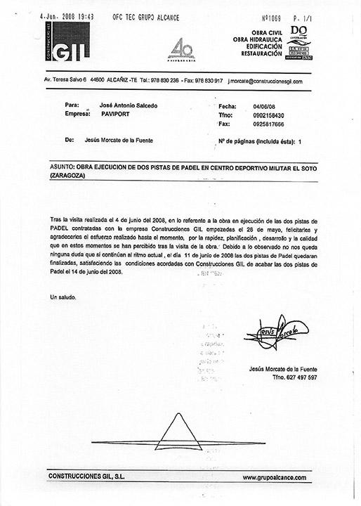 Certificado buena ejecución de obra - Zaragoza