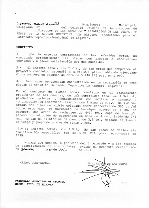 Certificado buena ejecución de obra - Segovia