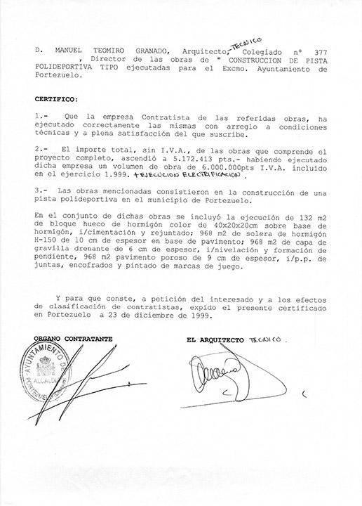 Certificado buena ejecución de obra - Portezuelo