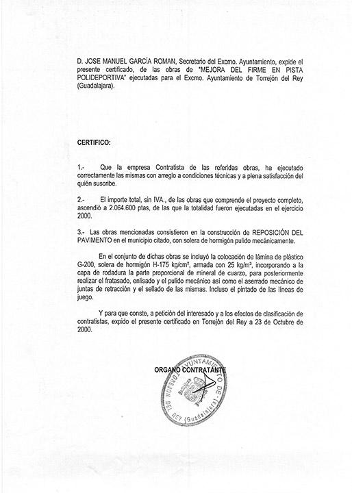 Certificado buena ejecución de obra - Torrejón del Rey