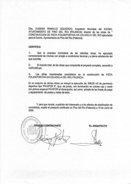 Certificado buena ejecución de obra - Pino del Río