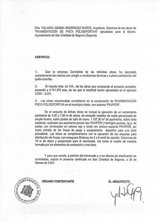 Certificado buena ejecución de obra - San Cristóbal de Segovia